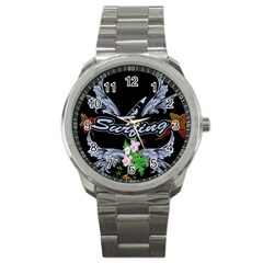 Surfboarder With Damask In Blue On Black Bakcground Sport Metal Watches by FantasyWorld7