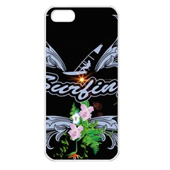 Surfboarder With Damask In Blue On Black Bakcground Apple Iphone 5 Seamless Case (white) by FantasyWorld7