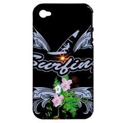 Surfboarder With Damask In Blue On Black Bakcground Apple Iphone 4/4s Hardshell Case (pc+silicone) by FantasyWorld7