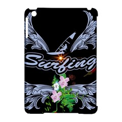 Surfboarder With Damask In Blue On Black Bakcground Apple Ipad Mini Hardshell Case (compatible With Smart Cover) by FantasyWorld7