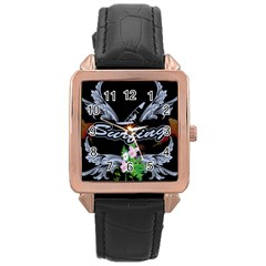 Surfboarder With Damask In Blue On Black Bakcground Rose Gold Watches by FantasyWorld7