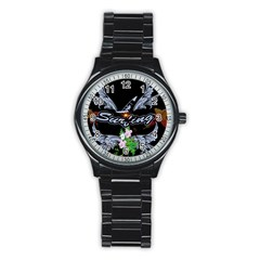 Surfboarder With Damask In Blue On Black Bakcground Stainless Steel Round Watches by FantasyWorld7