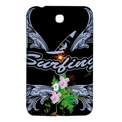 Surfboarder With Damask In Blue On Black Bakcground Samsung Galaxy Tab 3 (7 ) P3200 Hardshell Case  by FantasyWorld7