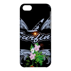 Surfboarder With Damask In Blue On Black Bakcground Apple Iphone 5c Hardshell Case by FantasyWorld7