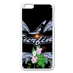 Surfboarder With Damask In Blue On Black Bakcground Apple Iphone 6 Plus/6s Plus Enamel White Case by FantasyWorld7