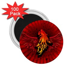 Lion With Flame And Wings In Yellow And Red 2 25  Magnets (100 Pack)  by FantasyWorld7