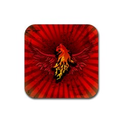 Lion With Flame And Wings In Yellow And Red Rubber Square Coaster (4 Pack)  by FantasyWorld7