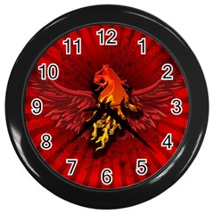 Lion With Flame And Wings In Yellow And Red Wall Clocks (black)