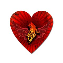 Lion With Flame And Wings In Yellow And Red Heart Magnet by FantasyWorld7
