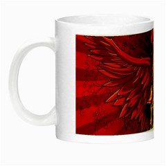 Lion With Flame And Wings In Yellow And Red Night Luminous Mugs by FantasyWorld7
