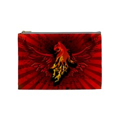Lion With Flame And Wings In Yellow And Red Cosmetic Bag (medium)