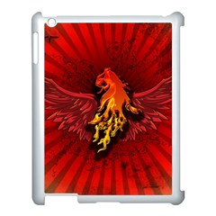 Lion With Flame And Wings In Yellow And Red Apple Ipad 3/4 Case (white) by FantasyWorld7