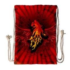 Lion With Flame And Wings In Yellow And Red Drawstring Bag (large)