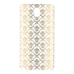 Gold Tones Vintage Floral Damasks Pattern Samsung Galaxy Note 3 N9005 Hardshell Back Case by Dushan