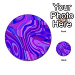 Retro Abstract Blue Pink Multi-purpose Cards (Round)  Front 2