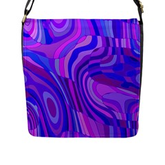 Retro Abstract Blue Pink Flap Messenger Bag (l)  by ImpressiveMoments
