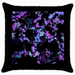 Splatter Blue Pink Throw Pillow Cases (black) by MoreColorsinLife