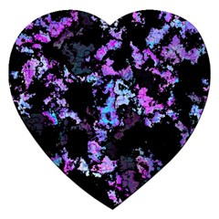 Splatter Blue Pink Jigsaw Puzzle (heart) by MoreColorsinLife