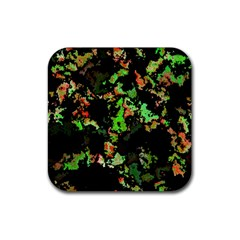 Splatter Red Green Rubber Coaster (square)  by MoreColorsinLife