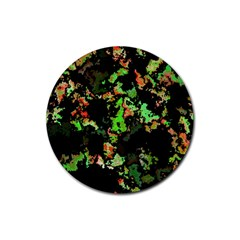 Splatter Red Green Rubber Round Coaster (4 Pack)  by MoreColorsinLife