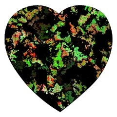 Splatter Red Green Jigsaw Puzzle (heart) by MoreColorsinLife