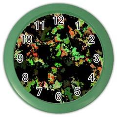 Splatter Red Green Color Wall Clocks by MoreColorsinLife