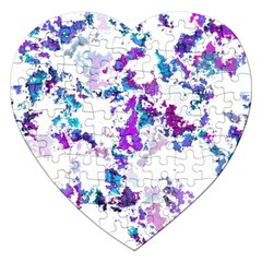 Splatter White Lilac Jigsaw Puzzle (heart) by MoreColorsinLife