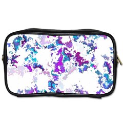 Splatter White Lilac Toiletries Bags 2 Side by MoreColorsinLife