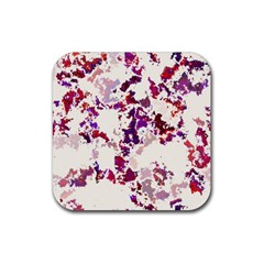 Splatter White Rubber Coaster (square)  by MoreColorsinLife