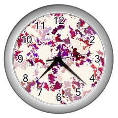 Splatter White Wall Clocks (silver)  by MoreColorsinLife