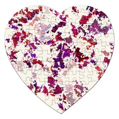 Splatter White Jigsaw Puzzle (heart) by MoreColorsinLife