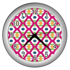 Honeycomb In Rhombus Pattern Wall Clock (silver) by LalyLauraFLM