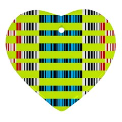 Rectangles And Vertical Stripes Pattern Ornament (heart) by LalyLauraFLM