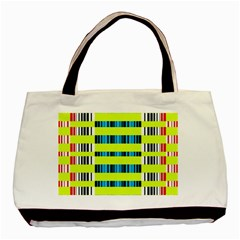 Rectangles And Vertical Stripes Pattern Basic Tote Bag by LalyLauraFLM