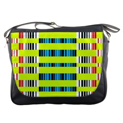 Rectangles And Vertical Stripes Pattern Messenger Bag by LalyLauraFLM