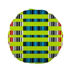 Rectangles And Vertical Stripes Pattern Standard 15  Premium Round Cushion  by LalyLauraFLM