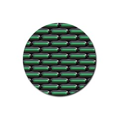 Green 3d Rectangles Pattern Rubber Coaster (round)