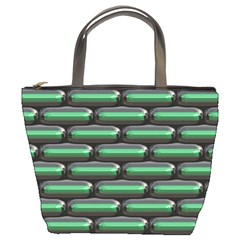 Green 3d Rectangles Pattern Bucket Bag by LalyLauraFLM
