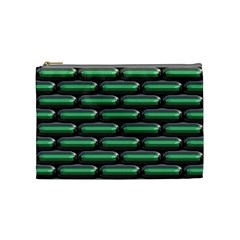 Green 3d Rectangles Pattern Cosmetic Bag (medium) by LalyLauraFLM