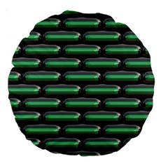 Green 3d Rectangles Pattern Large 18  Premium Round Cushion  by LalyLauraFLM