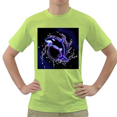 Orca With Glowing Line Jumping Out Of A Circle Mad Of Water Green T Shirt by FantasyWorld7