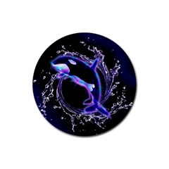 Orca With Glowing Line Jumping Out Of A Circle Mad Of Water Rubber Coaster (round)