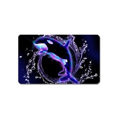 Orca With Glowing Line Jumping Out Of A Circle Mad Of Water Magnet (name Card) by FantasyWorld7