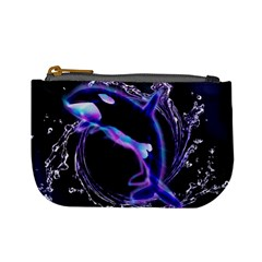 Orca With Glowing Line Jumping Out Of A Circle Mad Of Water Mini Coin Purses by FantasyWorld7