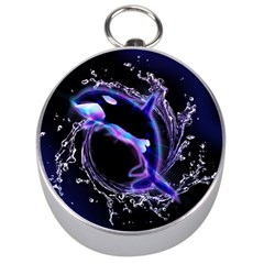 Orca With Glowing Line Jumping Out Of A Circle Mad Of Water Silver Compasses by FantasyWorld7