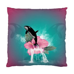 Orca Jumping Out Of A Flower With Waterfalls Standard Cushion Case (one Side)  by FantasyWorld7