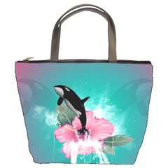 Orca Jumping Out Of A Flower With Waterfalls Bucket Bags