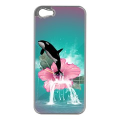 Orca Jumping Out Of A Flower With Waterfalls Apple Iphone 5 Case (silver)
