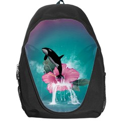 Orca Jumping Out Of A Flower With Waterfalls Backpack Bag by FantasyWorld7