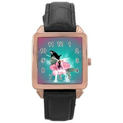 Orca Jumping Out Of A Flower With Waterfalls Rose Gold Watches by FantasyWorld7